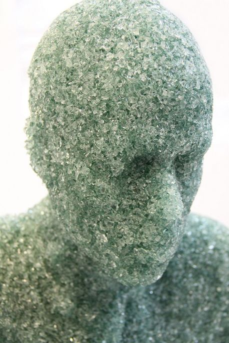 Artist ​Daniel Arsham  sculptures -compressed, shattered glass.