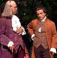 "1776 Ben Frnaklin telling John Adams, ""Don't worry, the history books will clean it up."""