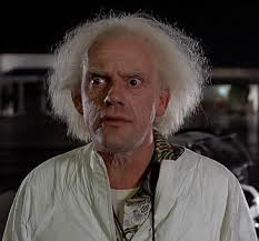 "The inimitable Christopher Lloyd as ""Doc Brow"" in Back to the Future"