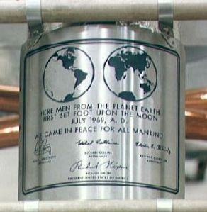 Plaque on Apollo 11 Lunar Lander