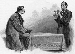 Original illustration by Sidney Paget.  Dr. Watson (left) listens as Holmes explains what he has deduced from a pipe.
